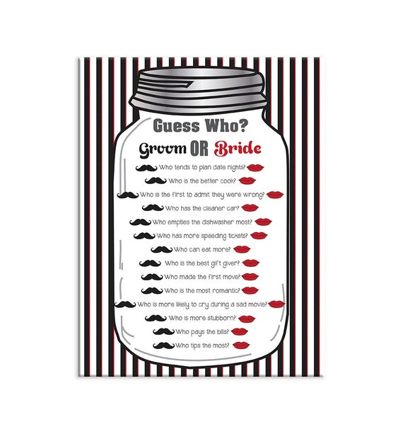 Mason Jar Guess Who Game Bridal Shower Game Couples Shower
