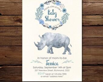 Boy Baby Shower Invitation, baby shower Invites,  boy baby shower Printable Invitation, Digital invite, Rhino baby shower invitation
