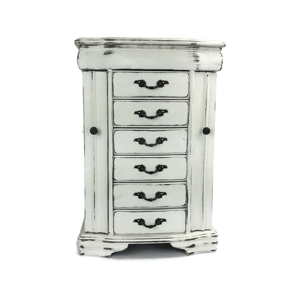 large jewelry box white jewelry armoire tall by shabbyshores