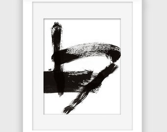 Brushstroke Print, Printable wall art, Abstract art, black and white print, Instant Download A112