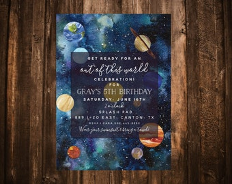 Out of this World Birthday Invitation; Planets; Solar; Space; Printable or set of 10