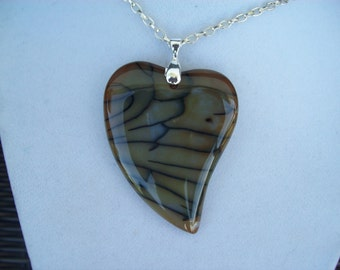 """Unusual black and gold agate heart pendant 2-1/2"""" long"""