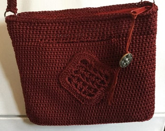 Cross Body Crochet Bag: Rusty Red With Roomy Front Pocket