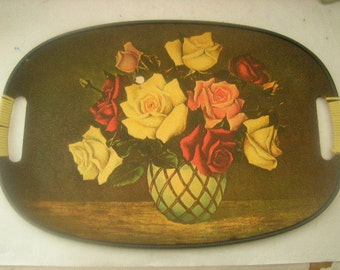vintage painted platter-vintage tray-plastic covered handles-MB daniels and Co.-cottage chic-
