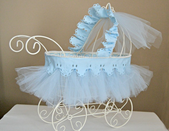 Baby carriage nursery decor baby shower centerpiece vintage for Baby carriage decoration