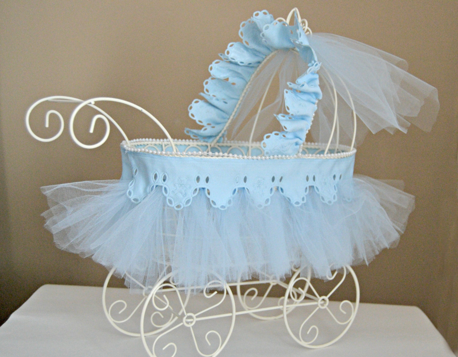 Baby carriage nursery decor shower centerpiece vintage