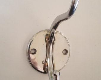 """Vintage mid century chrome bathroom double hook, mudroom hook, 3.5"""" large hook, 1.75"""" smaller"""