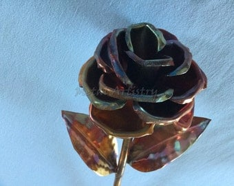 Flame colored copper rose/Symbol of love/Perfect gift for Anniversary/Wedding/Christmas