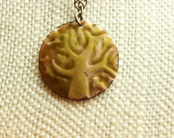 Embossed brass pendant & solid brass chain necklace unique handmade jewelry
