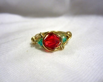 Gold Wire Wrapped Red & Green Ring, Size 7