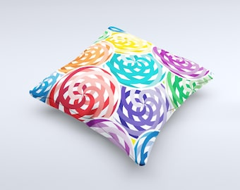 The Colorful Spiral Eclipse ink-Fuzed Decorative Throw Pillow