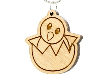 Hatching Chick Emoji Keychain - Wooden Baby Chicken Emoji Carved Wood Key Ring - Hatching Baby Chick Emoji