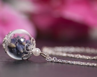 Real Flower Necklace,Real Lavender Necklace,Lavender in Hand Blown Glass Globe Pendant,Botanical Necklace,Irish Jewelry,Flower Pendant