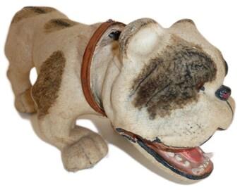 Rare Victorian Flocked Papier Mache Nodding Bulldog