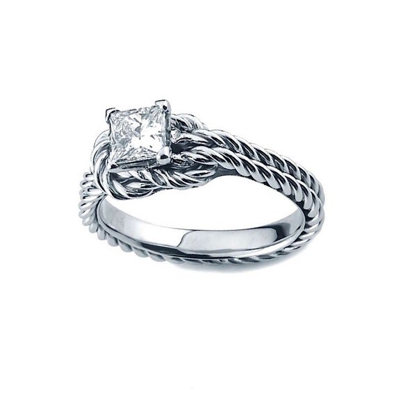 princess love knot engagement ring moissanite bridal by