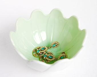 Mint Green Vintage Flower Dish