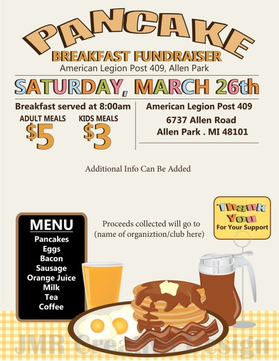 pancake breakfast fundraiser flyer    all you by