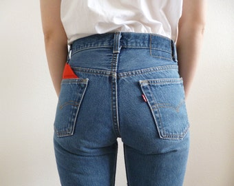 VTG Patchwork Levis 501 Jeans Size XS / S Boho Hippie Boyfriend Rockabilly OOAK