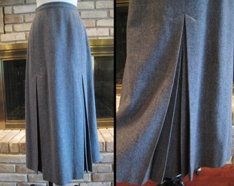 """Pendleton Gray Wool A-Line Skirt with Inverted Front Pleats 1980s does Retro 1940s Style Midi / Size M Medium 28"""" - 29"""" Waist"""