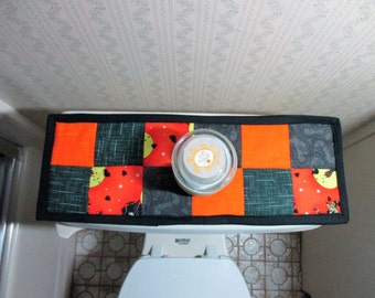 Halloween Toilet Tank Topper, Mini Table Runner, Halloween Decorations, Bath Decor, Black and Orange, Halloween Party Decorations