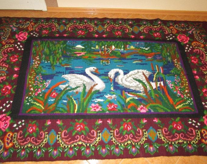 Hand Woven Rug Moldovan. Romanian KilimTapis moldave,Large rug. rose.Bessarabian kilim, carpet. From Ukraine, handmade. COLORFUL BESSARABIAN