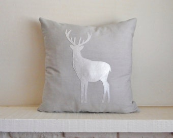 Reindeer Pillow / Woodland Decor / Christmas / Deer / Metallic Silver / Stag Silhouette / Decorative Pillow / Woodland Animals / Cabin Decor
