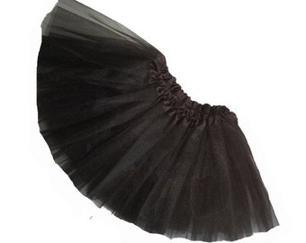 Little Girls BLACK Tutu .  Short Ballet Tutu Skirt . Lots of Colors to Choose . 10 to 11in Length