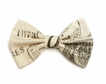 French Script Fabric Hair Bow