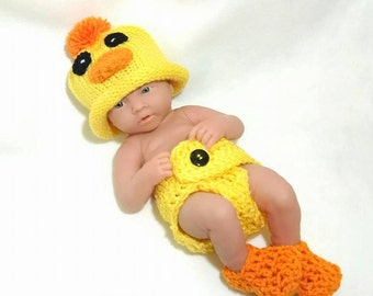 Crochet newborn duck outfit baby boy crochet outfit duck photo prop baby duck outfit baby boy prop yellow duck set crochet duck