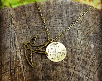 Three Little Birds Necklace - Every Little Thing Is Gonna Be Alright - Bob Marley Necklace