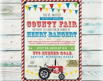 Printable County Fair Birthday Invitation - Digital File