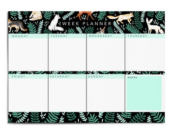 Large Illustrated Fox Weekly Planner Notepad