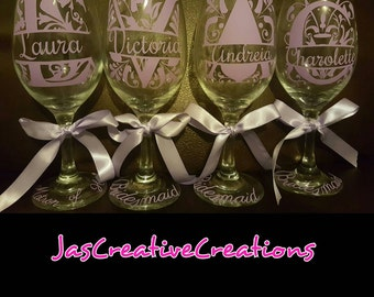 4 Personalized Bridesmaids Glasses