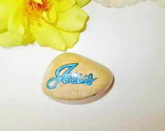 Hand Painted Rock Stone Scripture 2 Side Painted Blue Jesus Psalm Bible Verse Christian Religious Spiritual Paperweight Home Rock Garden