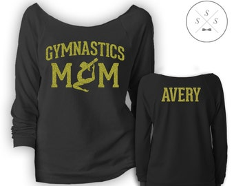 Customized Gymnastics Mom Ladies' Terry Raw-Edge 3/4-Sleeve Raglan Shirt