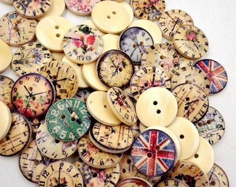 50 Pieces - Vintage Look Wooden Buttons