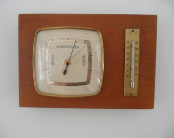 Weather station,Vintage wood weather station,Thermometer,Barometer,indoor weather station,wall hanging weather station,Vintage