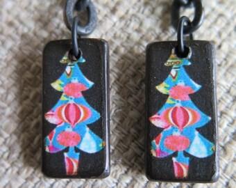 Christmas tree earrings, tree earrings, XMAS tree earrings, holiday, lightweight,  fun earrings, festive earrings, aqua & black earrings