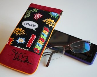 Case for smartphone or glasses in cotton Superhero and Red suede