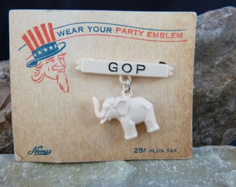Mid Century Republican Elephant Dangling from GOP Bar Vintage Plastic Political Pin on Original Party Emblem Card
