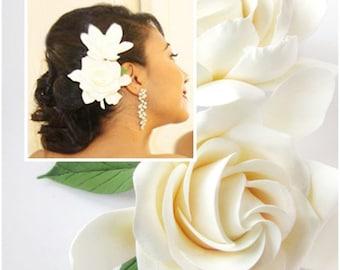 Two Wedding Gardenia hair clips. White, Ivory Gardenia. Two Gardenia.