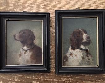 Pair Dog Portrait Oil Paintings