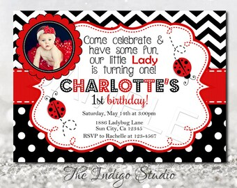 Ladybug Birthday Invitation DIY Printable invite 1st birthday with or Without Photo Invitation you print