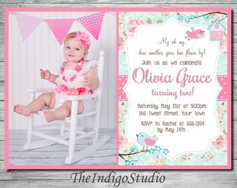 Shabby Rose Tea Party Little Bird Birthday Invitation NO PHOTO OPTION with Roses Pink and Teal You Print