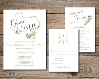 Printable Customized to ANY State Wedding Invitation, RSVP and OPTIONAL Details Card -Print Yourself-Digital File Invite