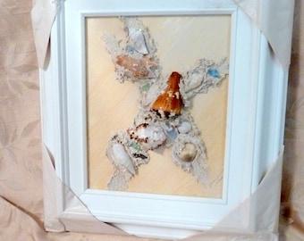 Sea Shell Art Framed Collage #4