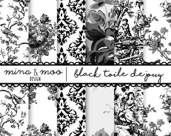 Toile de Jouy, French pattern design wallpaper, Paper for decoupage, French designs, french country wallpaper, french toile, Black toile