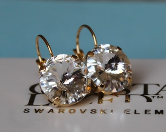 Gold Plated Rivoli Clear 14mm Leverback Earrings made with Swarovski Crystal Elements by LadyCJewellery