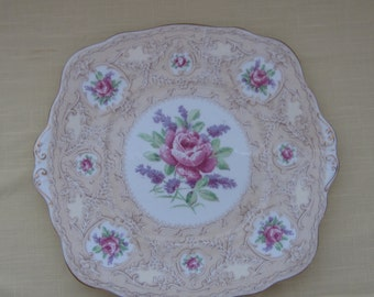 ROYAL ALBERT, Devonshire Lace, cake plate, sandwich plate, handled plate, Made in England