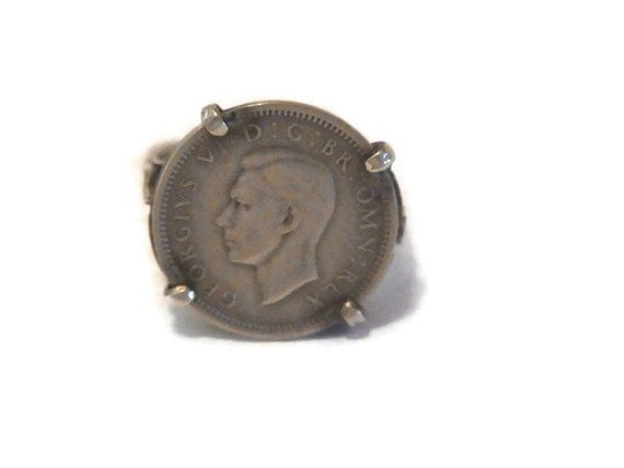 silver sixpence ring 1940 king george vi sterling silver